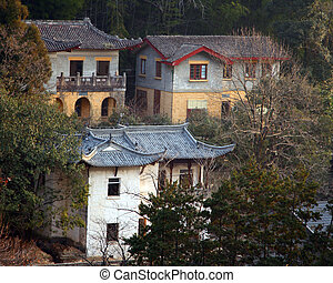 Chinese Houses in the Woods