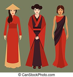 chinese, japanese and indian women, asian people,...