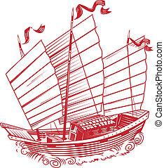 An asian style ship