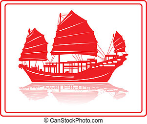 Chinese junk boat. - A chinese junk boat in red silhouette.