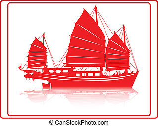 A chinese junk boat in red silhouette.