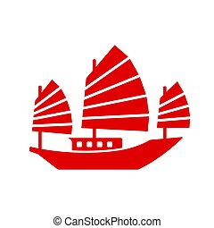Chinese Junk Boat Icon - Asian Junk boat, vector icon. ...