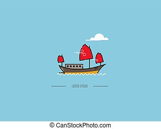 Chinese junk boat in Hong Kong vector icon