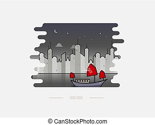 Chinese junk boat in Hong Kong vector icon, illustration