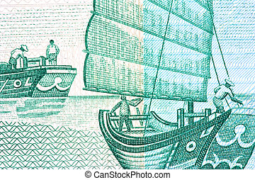 Chinese Junk on Currency Note