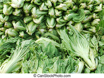 Chinese kale in a market