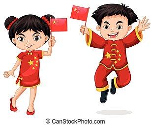 Chinese kids holding flag