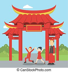 chinese kids playing infront of chinese gate
