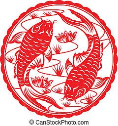 Chinese koi. - Chinese koi fish in paper cutting.