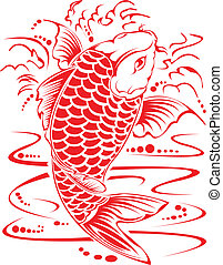 Chinese koi design. - Chinese koi design in red.