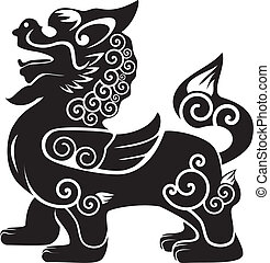 chinese kylin vector silhouette on white background