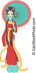 Chinese lady in traditional dress holding umbrella. Vector...