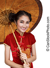Chinese lady model with old umbrella