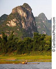 Chinese landscape, Li river - Raft fishing on the Li river...