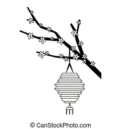 chinese lantern and blossom tree branch, flat design