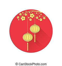 Chinese lantern and cherry blossom flat icon. Vector...