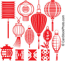 Clip art collection of chinese lantern icons and elements