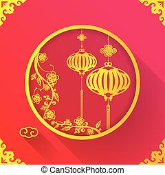 square flat design illustration of hanging chinese paper lantern for