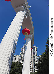 Chinese Lanterns and Column - Column and red Chinese...