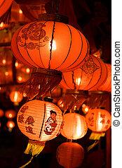 Chinese lanterns at night , Chinese New Year decorations (...