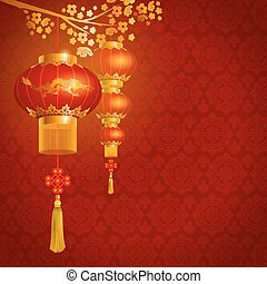 Chinese lanterns - Beautiful vector background with red...