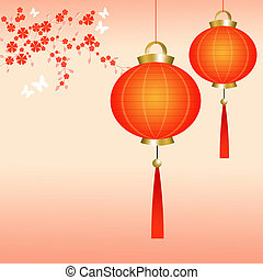 Chinese lanterns on a pink background