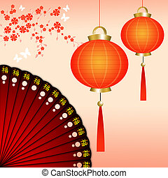 Chinese lanterns with fan