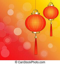 Chinese lanterns with glare