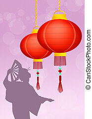 Chinese lanterns - illustration of Chinese lanterns