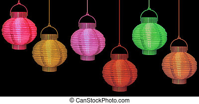 Chinese lanterns isolated - red, green, gold on black