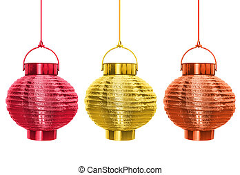 Chinese lanterns isolated - red orange and gold, yellow. Metal