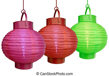 Chinese lanterns - isolated - Three decorative Chinese...