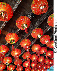 Chinese lanterns on a wooden ceiling