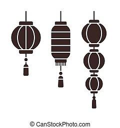 Chinese lanterns set - Set of traditional Chinese New Year...