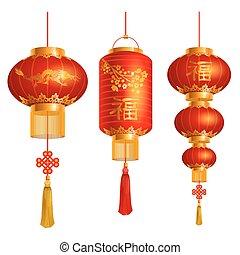 Chinese lanterns set - Vector set of red Chinese lanterns ...