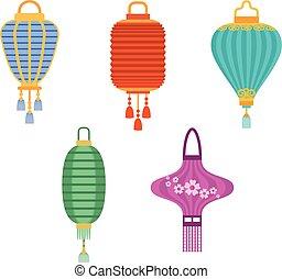 Chinese lanterns vector illustration.