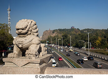 Chinese Lion and the view from the bridge