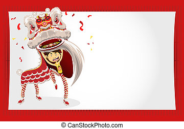 Chinese Lion Dancing - An Illustration Of Chinese Lion...