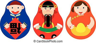 Chinese luck Russian doll set