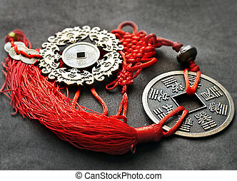 Chinese Lucky Knot with feng shui symbols