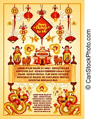 Chinese Lunar New Year greeting poster design - Chinese...