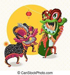 Chinese Lunar New Year Lion Dance Fighting Each Other...