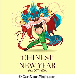 Chinese Lunar New Year Lion Dance Fight isolated background, happy dancer in china traditional costume holding colorful dragon mask on parade or carnival, cartoon style vector illustration