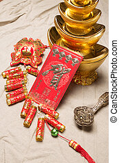 Chinese lunar new year ornament on a festive background