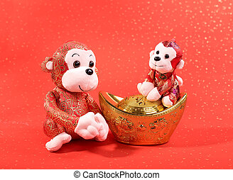 Chinese lunar new year ornaments toy of monkey on festive background