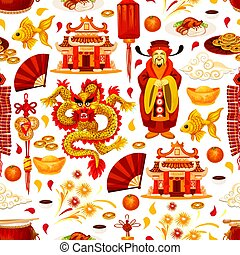 Chinese lunar New Year symbols vector pattern - Chinese...