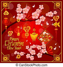 Chinese lunar New Year vector greeting card - Chinese New...