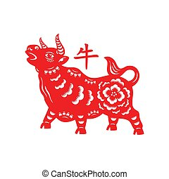 Chinese Lunar Year of the Ox - Chinese New Year decorated ox...