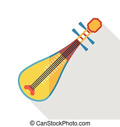 Chinese lute music instrument flat icon