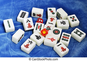 Chinese mahjong tiles on a blue background